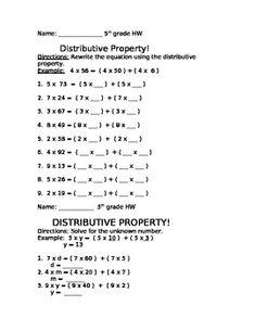 best distributive property of multiplication images  distributive property homework