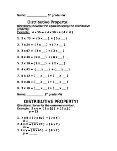 Worksheets The Distributive Property Worksheets heres a set of tiered worksheets for solving multiplication this 3 page homework document features different practice pages the distributive property each assesses aspect