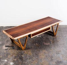 Mid Century Modern Coffee Table Lane Perception Basket Danish Vintage Drawer #MidCenturyModern #LaneFurniture