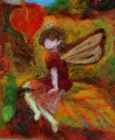 Needle Felted Waldorf Tapestry. Autumn fairies .Wall hanging .Needle felt by…