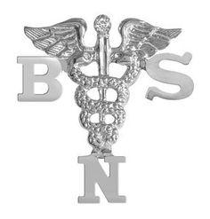 NursingPin - Bachelors of Science in Nursing BSN Graduation Pin with Diamond in Silver NursingPin.com. $54.99