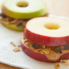 Apple with peanut butter is D-E-licious and a great protein source. For extra craving, add some dark chocolate or add oatmeal to make the satiety last longer.