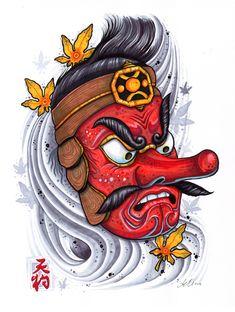 Tengu Art Print by leonmorley - X-Small - Tattoo MAG Tengu Tattoo, Hanya Tattoo, Irezumi Tattoos, Samurai Tattoo, Samurai Art, Japanese Mask Tattoo, Japanese Tattoo Designs, Japanese Sleeve Tattoos, Tatoo Art