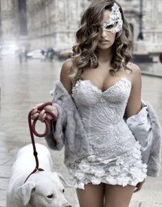 Rita Pereira with gorgeous wedding dress. Agent Provocateur, Masquerade Party, Masquerade Masks, Couture, White Lace, Sexy Lingerie, Ideias Fashion, Fashion Photography, Fantasy Photography
