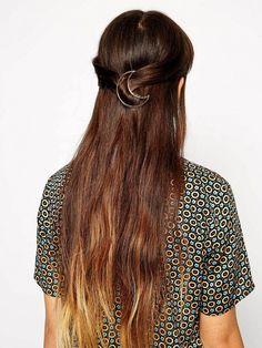 Buy ASOS Moon Hair Brooch at ASOS. Get the latest trends with ASOS now. Elegance Hair, Elegant Hairstyles, Tiara Hairstyles, Wedding Hairstyles, Gold Hair Clips, Metal Hair Clips, Asos, Gold Hair Accessories, Wedding Hair Pins