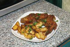 Куриные крылья с картофелем в духовке Tandoori Chicken, Meat, Ethnic Recipes, Food, Meal, Eten, Meals