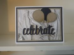 Another Celebrate thinlits card with Marbled stamp and balloon punch from Stampin up.