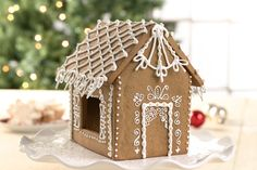 Every spring and summer as our merchandising team begins their search for our newest holiday products, I get excited to begin my own holiday decorating season with a new gingerbread house design. This year it was… …white on white, for a simple, elegant house. What makes the house special this year are the royal icing &