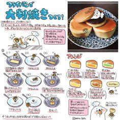 フライパンで大判焼き (@boku_5656 | twitter) Cafe Food, Food Menu, Food Design, Sweets Recipes, Cooking Recipes, Kawaii Cooking, Food Sketch, Good Food, Yummy Food