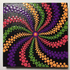 Hand Painted Mandala Swirl on Canvas Dot Art Healing