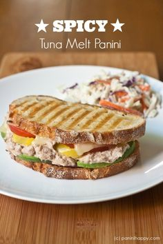 Spicy Tuna Melt Panini ...with pepper jack, pepperoncini and Tapatio-spiked Dijon mustard | paninihappy.com #panini #tuna #melt