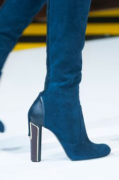 Just Cavalli Blue Suede Boots Fall 2014 #Shoes #Heels