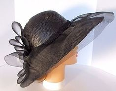 fce08c485a3 Wide Brim Black Hat Tulle Kentucky Derby Ladies Quality Handmade Wedding  Church