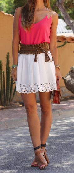 pretty top with white eyelit high-waisted skirt and thick brown high-waisted belt