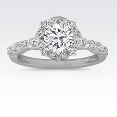 Round Halo Vintage Diamond Engagement Ring with Brilliant Round Diamond (Shane Co) LOVE LOVE LOVE THIS RING!