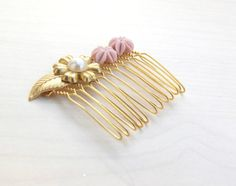 Pearl gold hair combGold leaf hair comb Wedding by YaelSteinberg, $32.00
