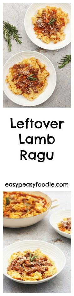 A really quick and easy recipe, this delicious Italian style Leftover Lamb Ragu is the perfect way to make the most of your lamb leftovers. In fact this recipe is so good it's worth buying extra lamb just to make sure you have plenty left over! Lamb Recipes, Pasta Recipes, Cheese Recipes, Meat Recipes, Cooking Recipes, Quick Easy Meals, Easy Dinner Recipes, Leftovers Recipes, Pasta Formen