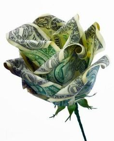 dollar bill rose    ha that would be cute for a gift instead of a gift card!