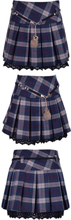Plaid Pleated High Waist Skirt
