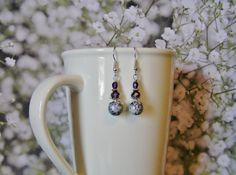 Purple and Silver Dangle Earrings with Czech by SmockandStone, $17.00