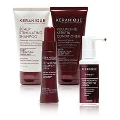 The road to stronger, thicker, healthier hair starts with the Keranique Deluxe Regrowth Hair System Kit. Made specifically for women with fine, weak and thinning hair, this foursome works in tandem to stimulate healthy hair growth and treat hair loss Hair Remedies For Growth, Home Remedies For Hair, Hair Loss Remedies, Castor Oil For Hair Growth, Hair Growth Oil, Best Hair Loss Products, Beauty Products, Keratin Shampoo, Hair System