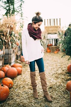 Brown over the knee boots, infinity scarf and oversized white sweater