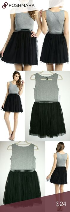 M,L Sporty Tank & Black Tulle Mini Dress NWT This is such a cute, flirty dress! It features a heather gray tank top with scoop neckline and thick straps, a wide elastic waistband w/ sporty stripes, and a mesh tulle skirt. The skirt is fully lined. I think