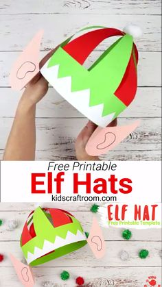 Make a super fun Elf Hat craft with ears using this free printable pattern. Print and colour or trace onto coloured card. Christmas hat fun for everyone! Diy Christmas Hats, Christmas Crafts For Kids To Make, Childrens Christmas, Preschool Christmas, Christmas Activities, Holiday Crafts, Party Crafts, Christmas Games, Elf Hut