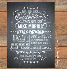 Chalkboard Birthday Invitation for the Guy by TwirlyDesigns, $12.00