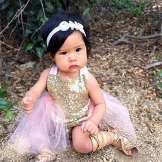c0cf993ddb9 Glitter Sequin Romper in Light Pink With Tulle Baby Girl Fashion