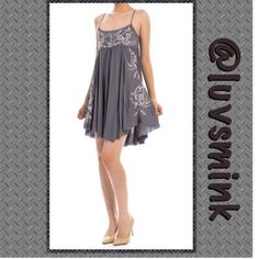CAMI CHARCOAL GREY EMBROIDERED SUNDRESS - MEDIUM Gorgeous layers of Grey, open spaghetti strap back, delicate embroidery on the front.  Available in Small, Medium, and Large  100% Poly blend, dress is 36 inches in length    Stunning ❤️ Made in USA. NO HOLDS/TRADES.  Price is FIRM, unless bundled. THIS IS A SIZE MEDIUM. Limited quantities. mitto Dresses