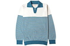 Off-White/Marlin Blue Jimmy Breton Stripe Polo Bape T Shirt, Men's Fashion Brands, Fashion News, Nautical Looks, Half Zip Sweaters, White Trousers, Corduroy Jacket, Long Sleeve Polo, Padded Jacket