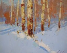 Birches Trees, Landscape oil painting, Winter, One of a kind