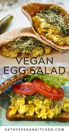 Vegan eggs salad is a blend of baked tofu, diced celery, and onions in a tangy vegan cashew dressing. Make a sandwich, stuff it in a tomato or eat it with crackers. Egg salad like grandma used to make but vegan! Easy Egg Salad, Easy Salad Recipes, Dinner Recipes, Delicious Vegan Recipes, Healthy Recipes, Amazing Recipes, Healthy Eats, Tasty, Vegan Egg Salad Recipe
