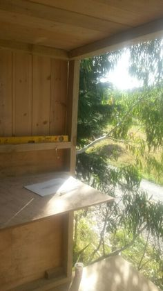 View out of my almost finished treehouse door frame and balcony Treehouse, Balcony, It Is Finished, Windows, Doors, Frame, Terrace, Slab Doors, Treehouses