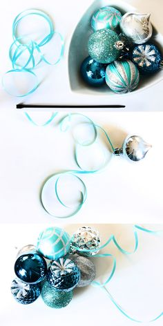 What's clustering? You simply slide as many ornaments as you want onto a ribbon, and once you have met your desired fullness, tie it into a knot. To attach your clusters to your tree, wreaths or garland, you simply insert a zip tie and pull it tight.