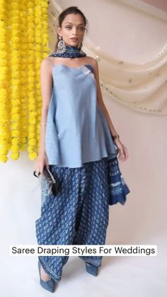 Indian Fashion Dresses, Dress Indian Style, Indian Designer Outfits, Indian Fashion Trends, Fashion Outfits, Stylish Sarees, Stylish Dresses, Saree Wearing Styles, Saree Trends