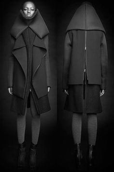 Rad Hourani - Unisex Transformable Collection / dark future / cyberpunk / all black / structured clothing / androgynous fashion / urban dystopia / post apocalyptic inspiration for women Rad Hourani, Dandy Look, Unisex Fashion, Womens Fashion, Fashion Show, High Fashion, Fashion Fashion, Fashion News, Unisex