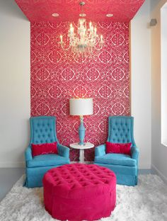 Turquoise and Pink: great little sitting area for teenager, what a cool idea to paper a portion of a wall and ceiling