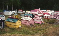 "Ekutna Cemetery, Anchorage, Alaska. Over 100 ""Spirit Houses"" occupy the cemetery, sheltering the spirits of the dead. The size of the house depicts the social status of the person buried there."