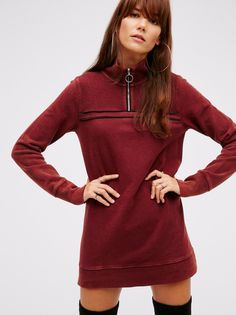 Just a Half Zip Pullover | In a tunic length this sweatshirt features a half-zip on the neckline and piping detail. Contrast fabric around the neckline and on the back. This washed pullover is super comfy and casual, the perfect throw-on.