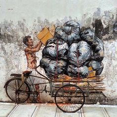 by Ernest Zacharevic - New piece in Ipoh, Malaysia - 21.06.2014