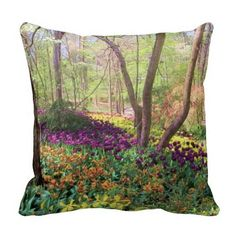 """Woodland Tulip Glory"" Pillow, with digitally rendered ""watercolor"" image from photograph shot during a spring visit to Garvan Woodland Gardens in Hot Springs, Arkansas. (http://www.zazzle.com/woodland_tulip_glory_pillow-189338535679107505?CMPN=addthis&lang=en&rf=238581717104918999) (https://www.facebook.com/hawcreek)"