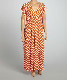 Loving this Orange & White Zigzag Surplice Dress - Plus on #zulily! #zulilyfinds