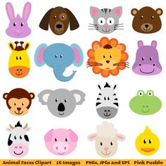 Animal Faces Clipart Clip Art, Zoo Jungle Farm Barnyard Forest Woodland Animal Clipart Clip Art - - - these would be so cute to make masks of fun foam for kids, maybe a birthday party? Handmade Crafts, Diy And Crafts, Crafts For Kids, Woodland Animals, Zoo Animals, Cutest Animals, Deco Baby Shower, Jungle Theme, Animal Faces