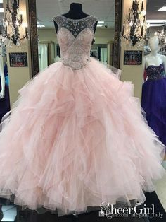044c76b61f06 Prom Ball Gown See Through Neck Tulle Light Pink Quinceanera Dresses 2019  Jewel Neck Ruffles Tiered