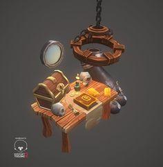 #стол #каюта #сундук ArtStation - Lowpoly Pirate Set - Game Art WIP, Rafael John