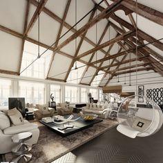 wood beam A-frame ceiling
