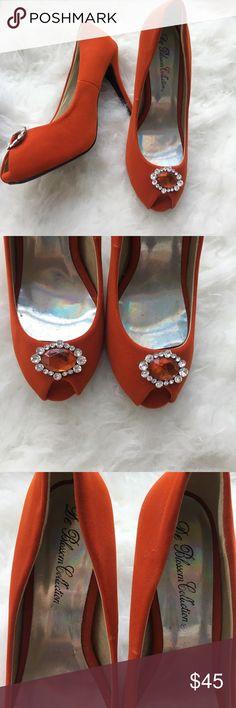De Blossom Collection orange rhinestone heels 8 Brand new without box orange De Blossom Collection velvet heels. They have never been worn. Very elegant! De Blossom Collection Shoes Heels