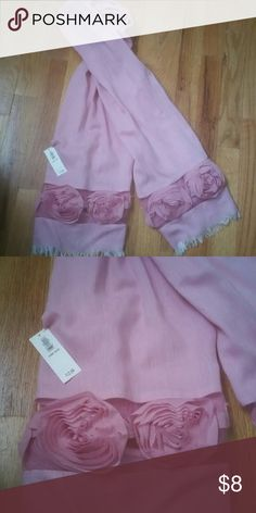 Scarf Old Navy scarf.  Pink with flowers on each end. Old Navy Accessories Scarves & Wraps
